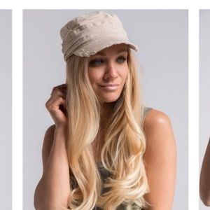 Accessories - Distressed Beige Military Cap